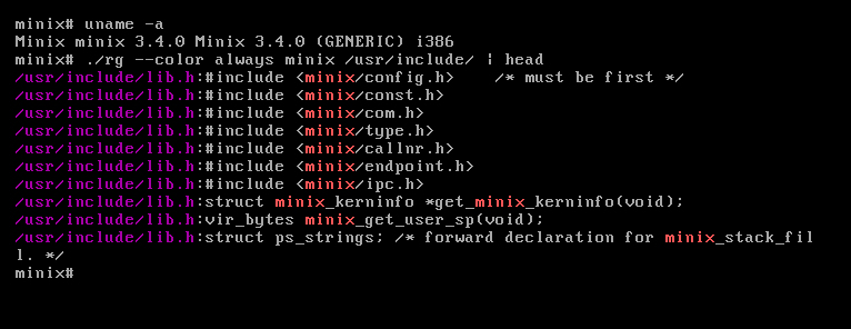 ripgrep running under Minix